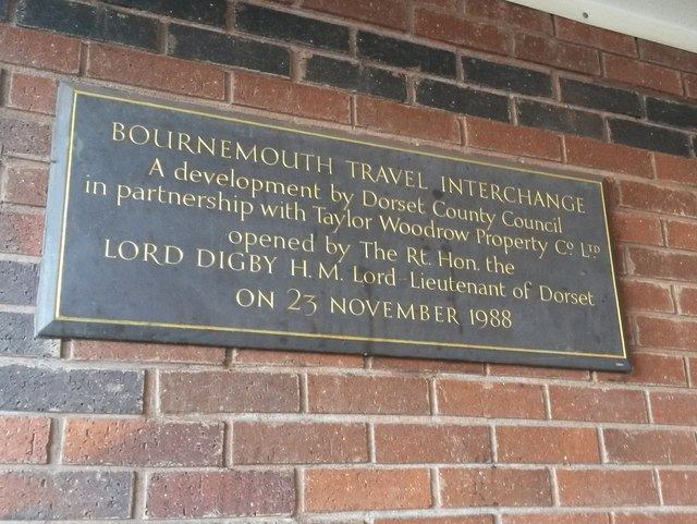 Bournemouth: plaque at the Travel Interchange