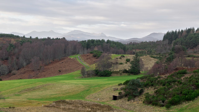 Hills of Strathconon and Strathfarrar above Strathpeffer Golf Course
