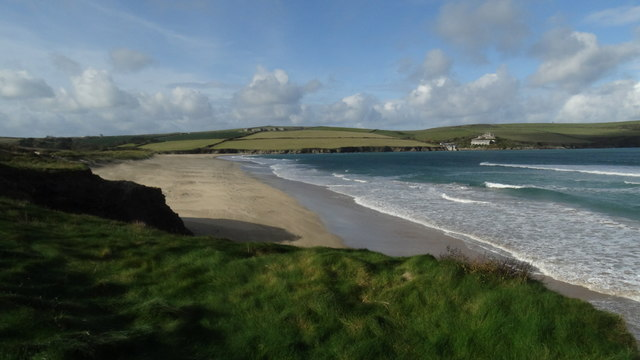 View towards the Coastguard Cottages at Hawker's Cove near Padstow