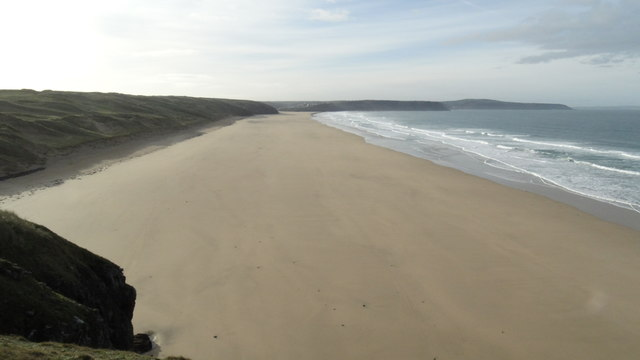 View S along Perran Beach towards Perranporth