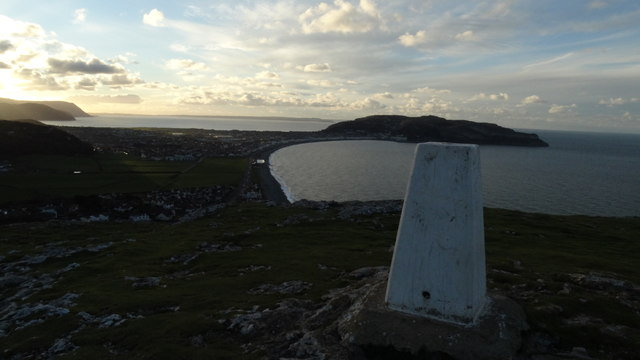Trig point Little Ormes Head with view towards Great Ormes Head