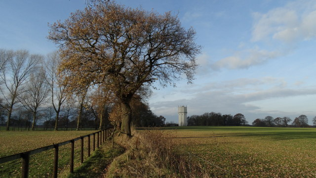 View NW to water tower at Bowden Bank Farm near over Peover
