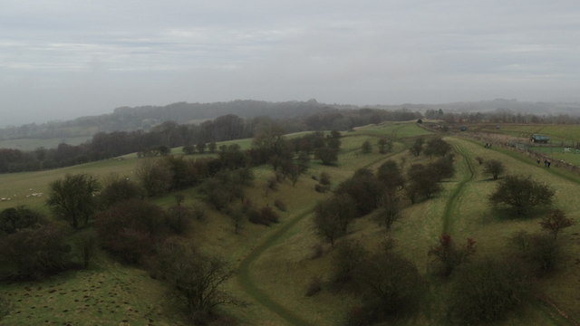 View from top of Broadway Tower - along Broadway Hill