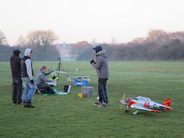 Aero-modellers in the sports fields by Ipsley