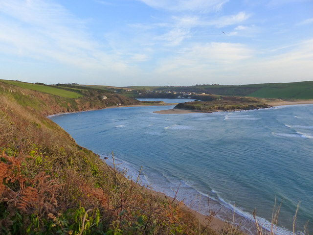 The Avon estuary looking towards Bantham from Folly Hill, Bigbury