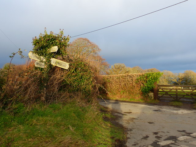 Road sign at Cross Parks, near Ilsington