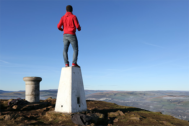 The trig point on Eildon Mid hill