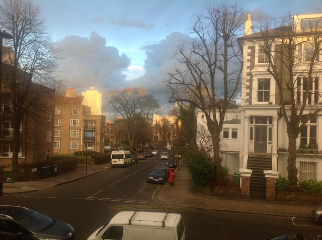 Late afternoon sun on Tasker Road, Belsize Park