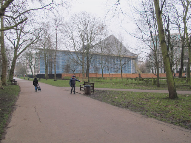 Design Museum, view from path in Holland Park