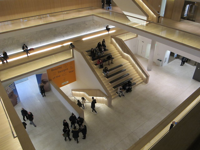Design Museum, seating on staircase from ground floor