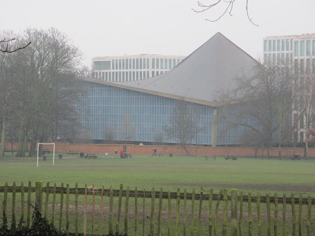 Design Museum, rear view across Holland Park sports fields