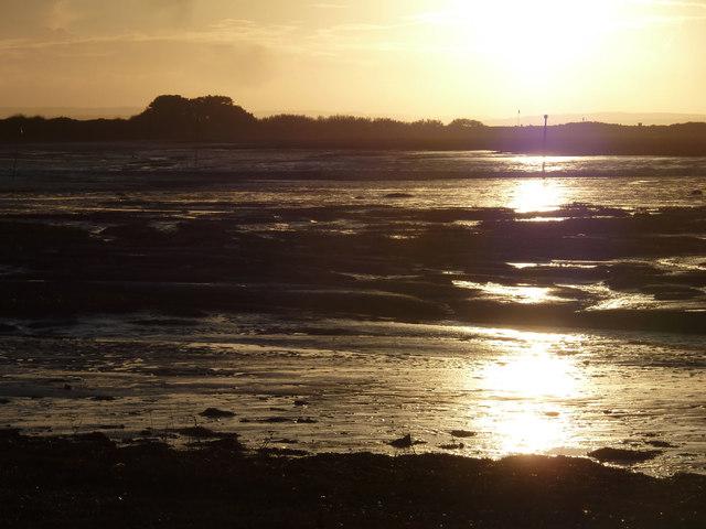 Low sun, low tide, Snowhill Creek