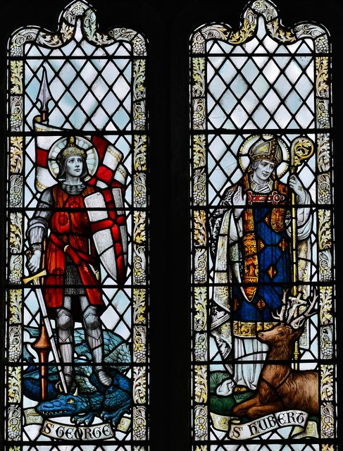 Westham, St. Mary's Church: St. George and St. Hubert window 1