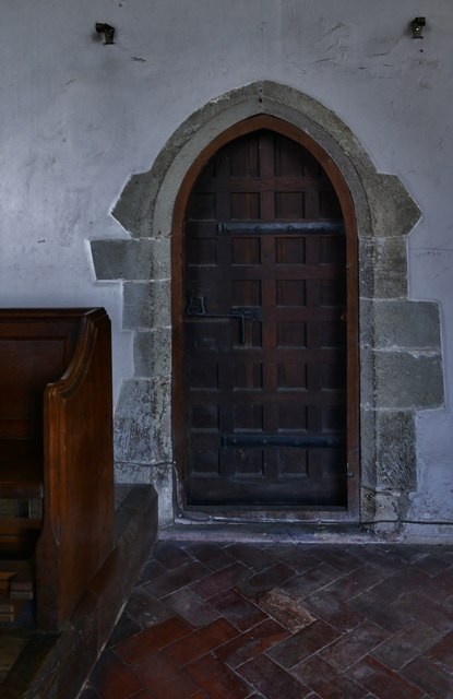 Westham, St. Mary's Church: The north (priest's door) into the chancel