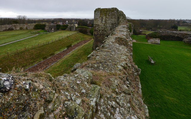 Pevensey Castle: The c13th north battlements and east tower