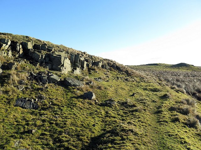 Outcrop of Whin Sill near Shield on the Wall