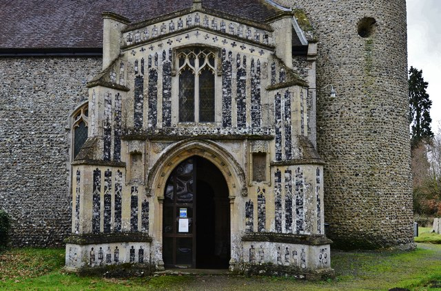 Gissing, St. Mary's Church: The c1474 north porch with its beautiful flushwork