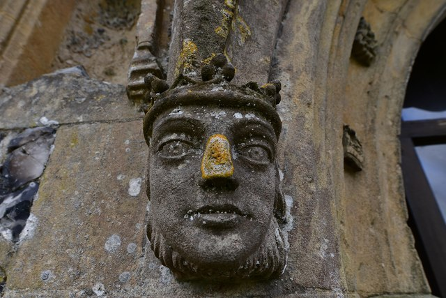 Gissing, St. Mary's Church: Left hand label stop on the c1474 north porch 1