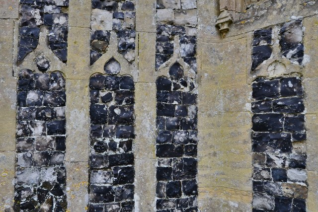 Gissing, St. Mary's Church: The c1474 north porch with its beautiful flushwork (detail)