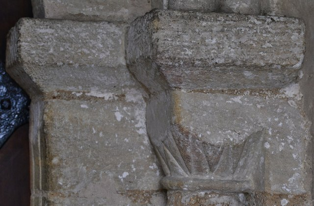 Gissing, St. Mary's Church: Norman north doorway capital 2