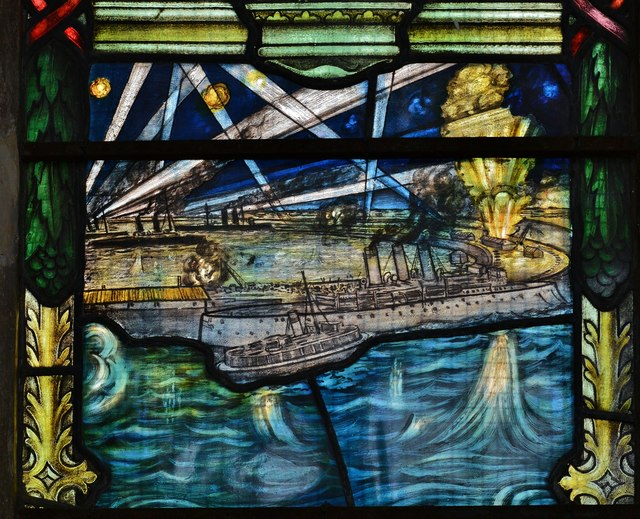 Swaffham, Church of Ss Peter and Paul: WW1 memorial window, Zebrugge scene