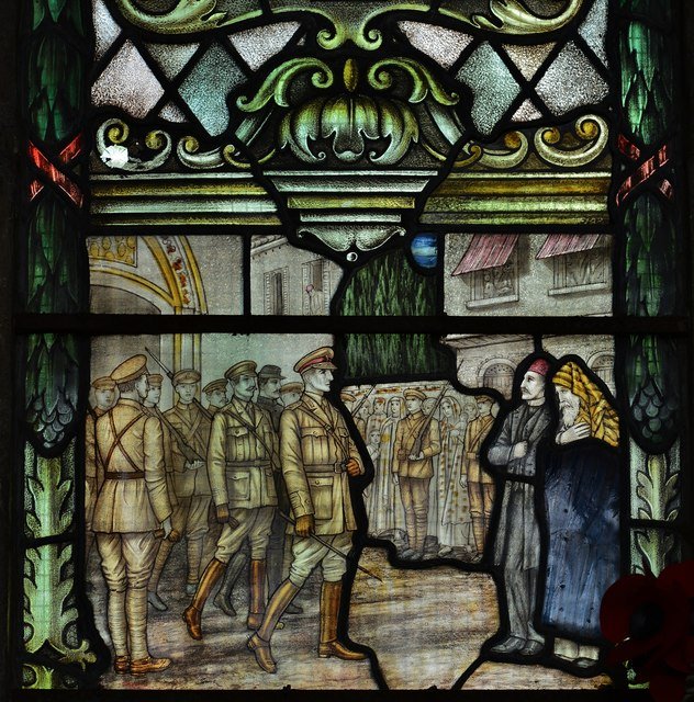 "Swaffham, Church of Ss Peter and Paul: WW1 memorial window, ""Jerusalem"""