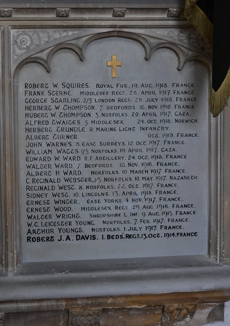 Swaffham, Church of Ss Peter and Paul: Memorial to 90 people from Swaffham who died in WW1