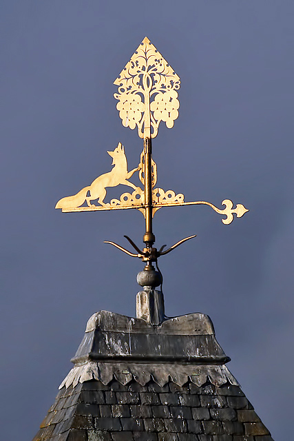 The weather vane on the Burgh Buildings in Galashiels