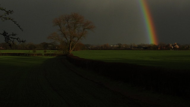 Rainbow towards Henhull Hall near Nantwich