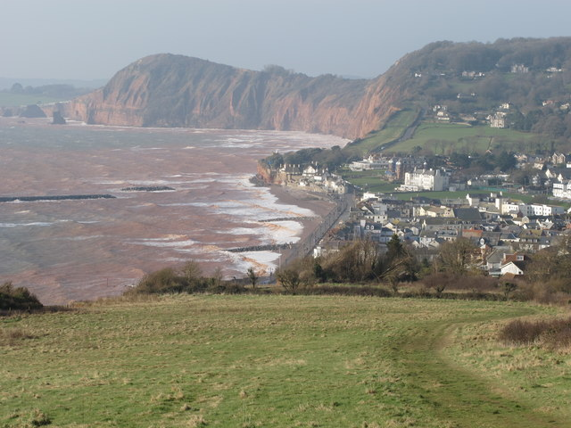Sidmouth Esplanade and rock islands from Salcombe Hill