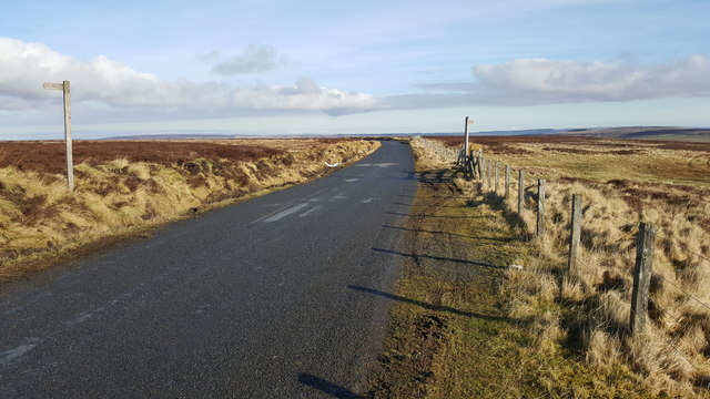 Footpath to Cuthbert's Hill crossing the moor road