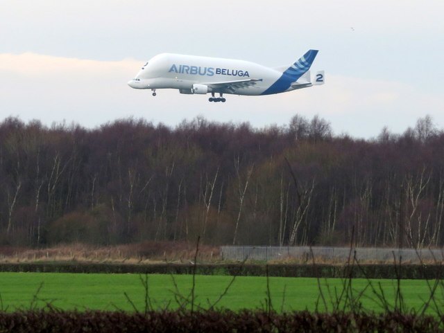 Airbus Beluga #2 landing at Hawarden Airport