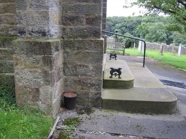 The entrance steps to St Margaret's, High Bentham