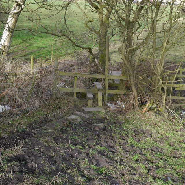 Stile and bridge over Bramhope Beck