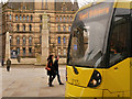 SJ8398 : Tram Passing Manchester Cenotaph, Second City Crossing by David Dixon