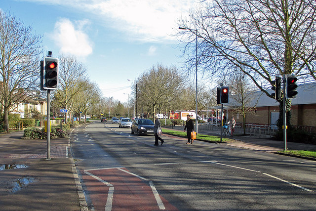 Brooks Road: pedestrian crossing outside Sainsbury's