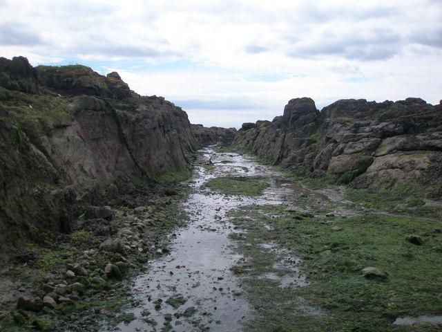 Channel cut into Broad Rock, Usan