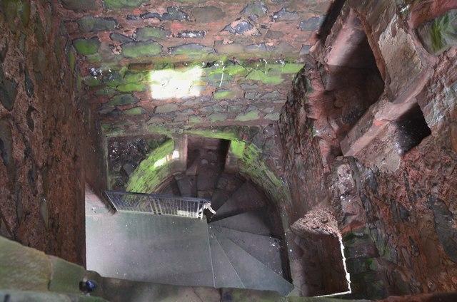 Stair and interior, Greenknowe Tower