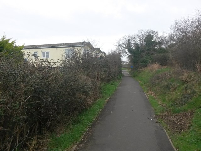 Wick: bridleway I27 passes some mobile homes