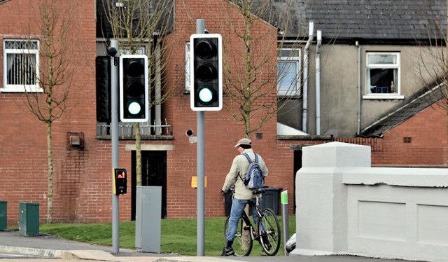 New pedestrian lights, Mersey Street, Belfast (March 2017)