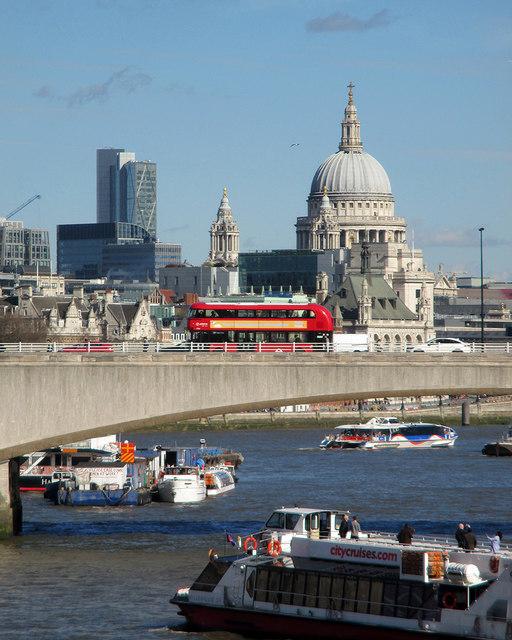 A bus crossing Waterloo Bridge