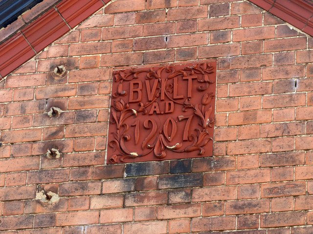 Datestone, former gasworks building, Ashbourne