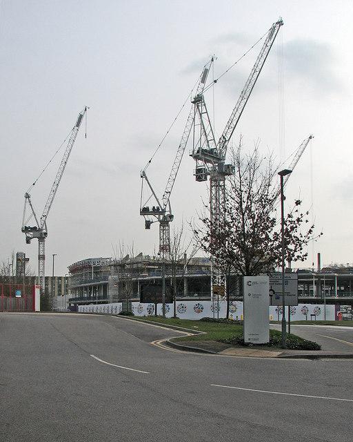 Cranes over the Astra Zeneca site