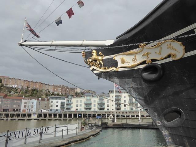The bowsprit of SS Great Britain