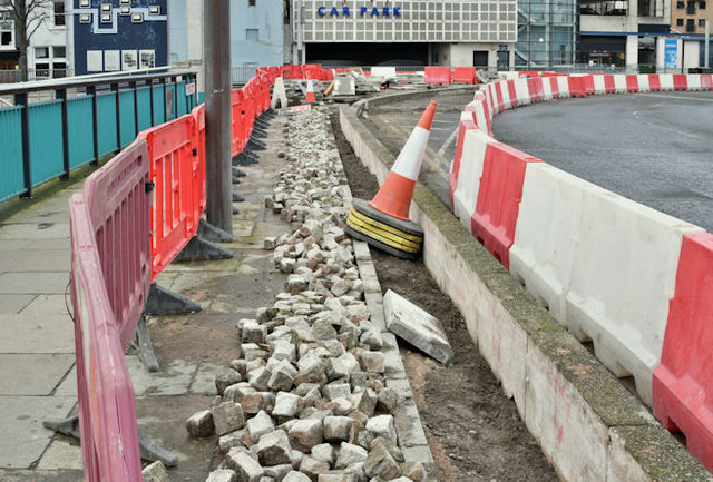 Roadworks, Queen Elizabeth Bridge, Belfast (March 2017)