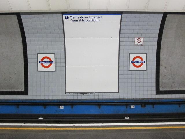 Seven Sisters tube station - sign on platform 4