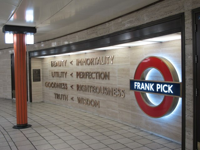 Piccadilly Circus tube station - tribute to Frank Pick