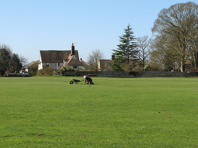 Great Wilbraham: working on the wicket