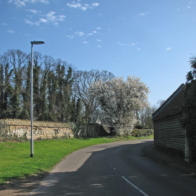 Little Wilbraham: blue sky, blossom and a clunch wall
