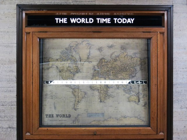 Piccadilly Circus tube station - linear world clock (close up)